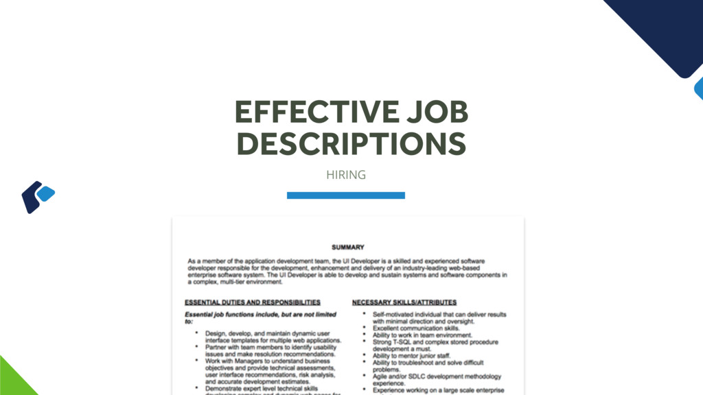 HIRING EFFECTIVE JOB DESCRIPTIONS