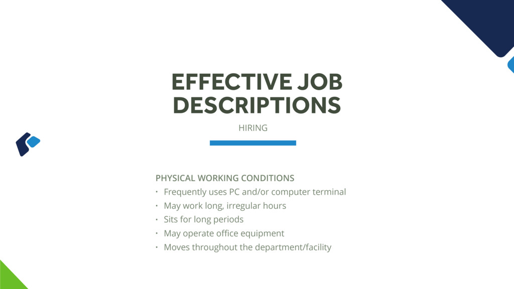 HIRING EFFECTIVE JOB DESCRIPTIONS PHYSICAL WORK...