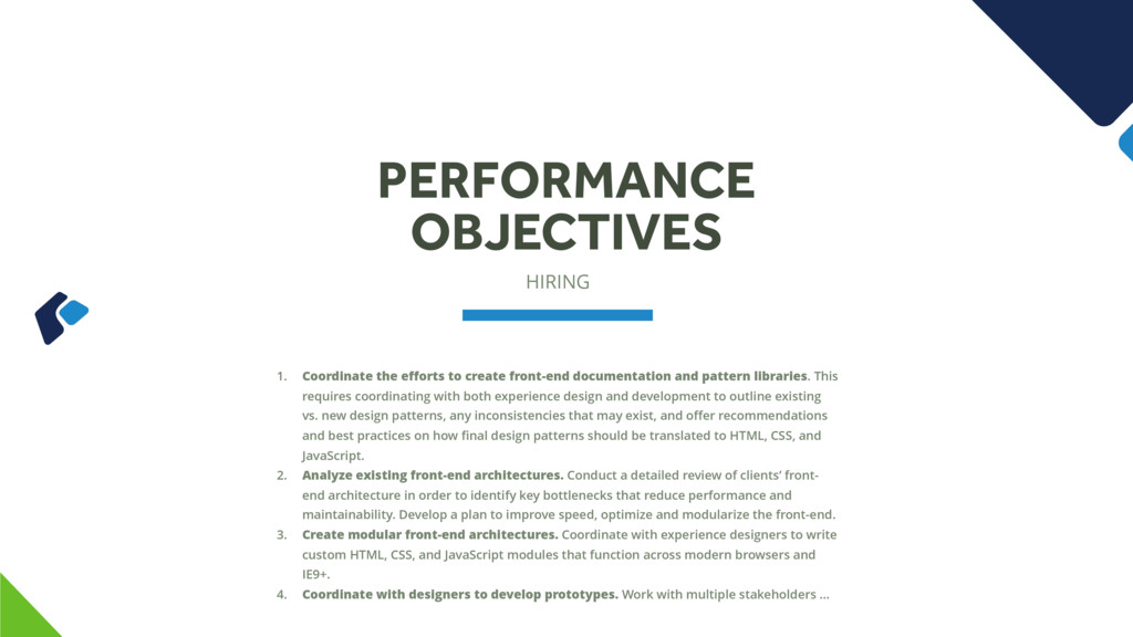 HIRING PERFORMANCE OBJECTIVES 1. Coordinate the...