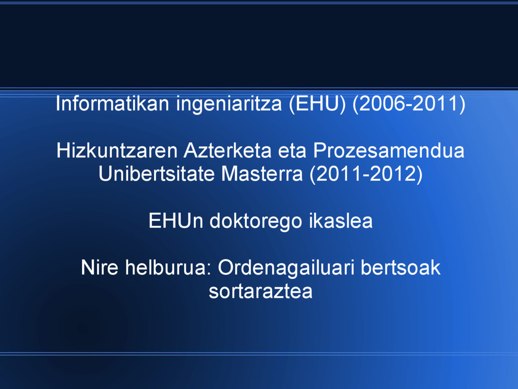 Informatikan ingeniaritza (EHU) (2006-2011) Hiz...