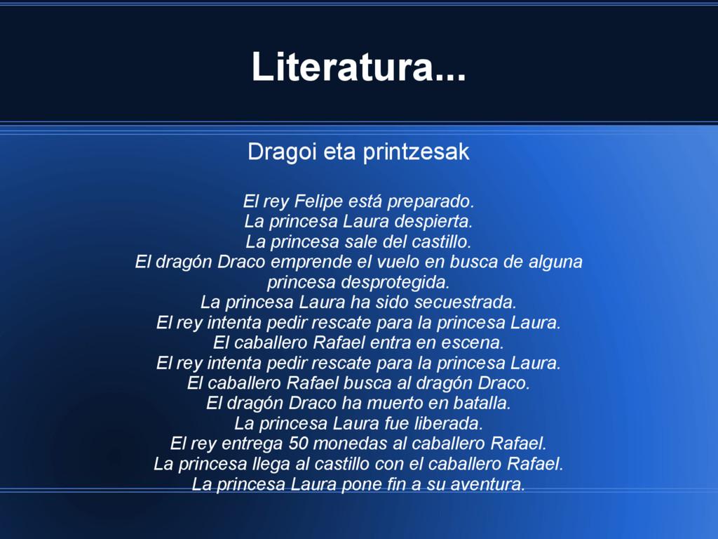 Literatura... Dragoi eta printzesak El rey Feli...