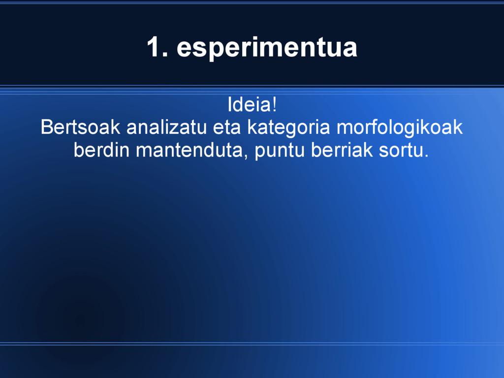 1. esperimentua Ideia! Bertsoak analizatu eta k...