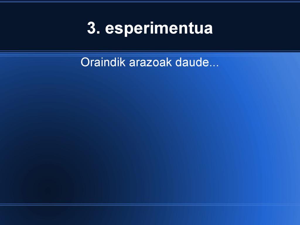 3. esperimentua Oraindik arazoak daude...