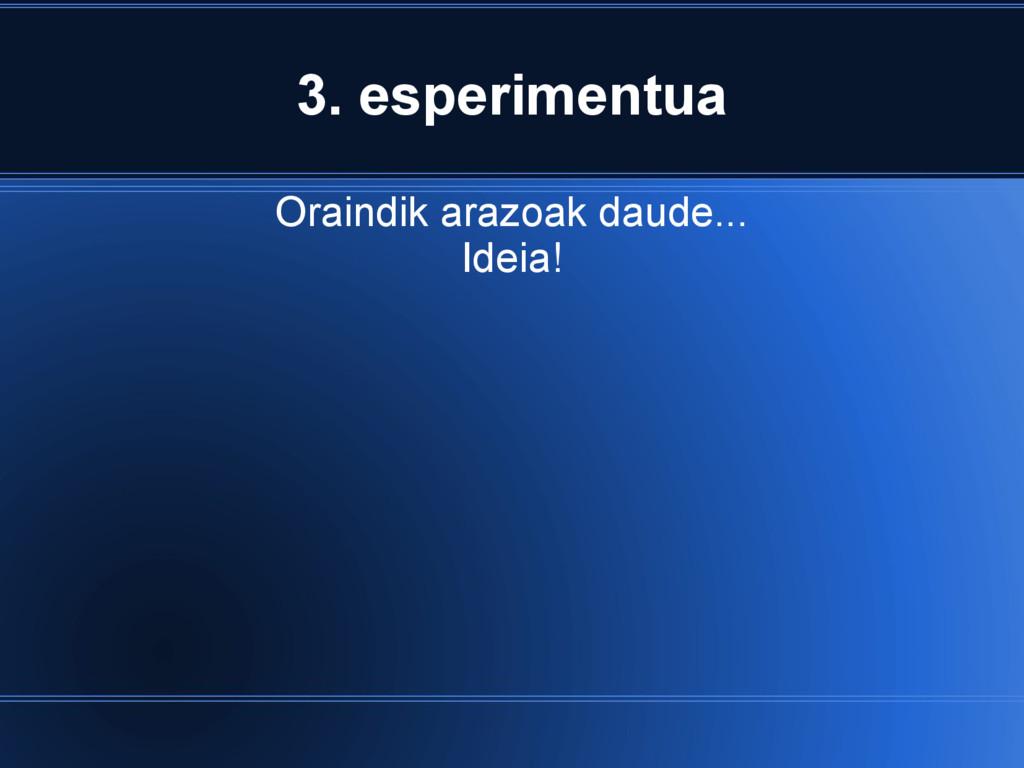 3. esperimentua Oraindik arazoak daude... Ideia!