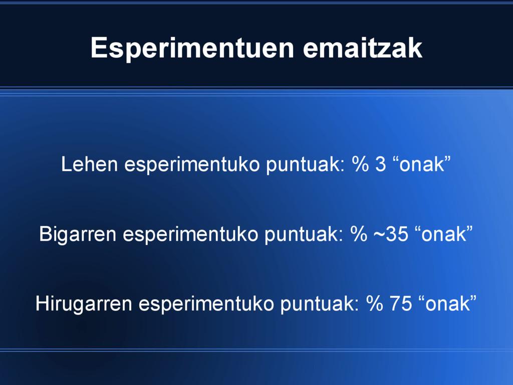 Esperimentuen emaitzak Lehen esperimentuko punt...