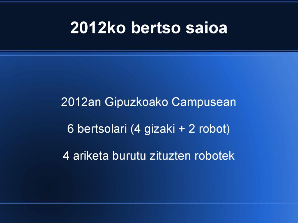 2012ko bertso saioa 2012an Gipuzkoako Campusean...