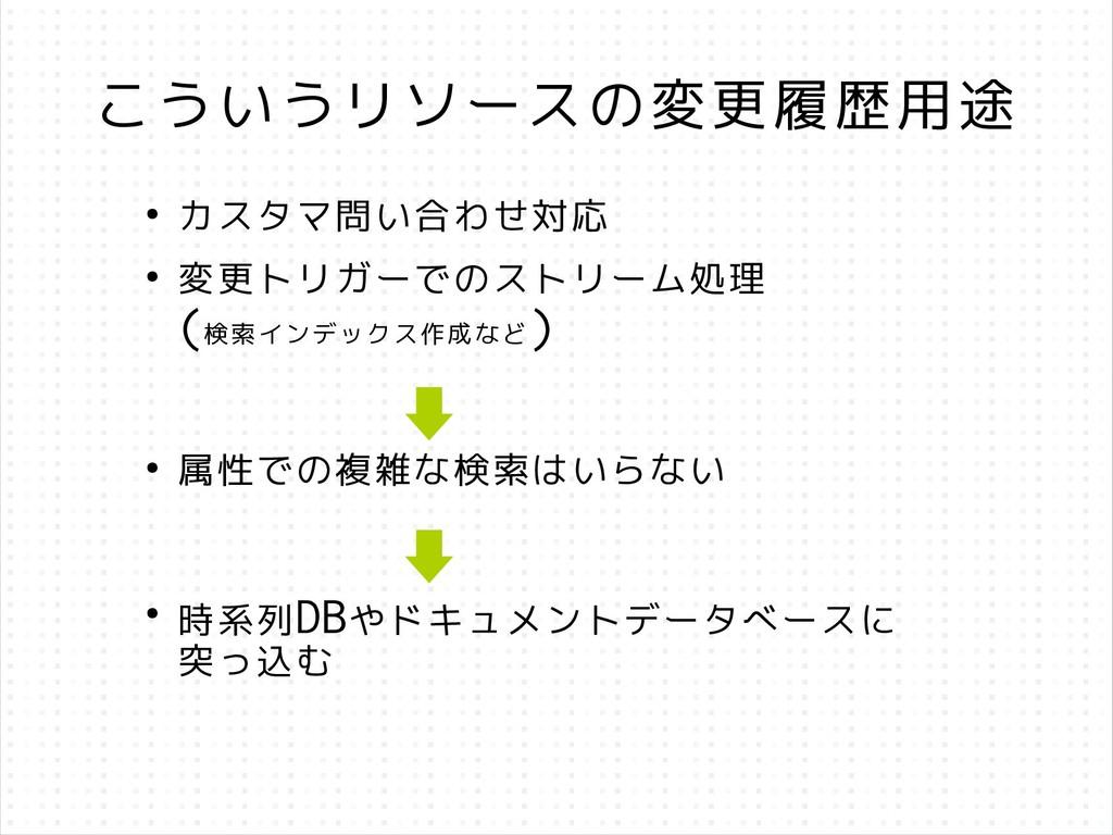 こういうリソースの変更履歴用途 ● カスタマ問い合わせ対応 ● 変更トリガーでのストリーム処理...