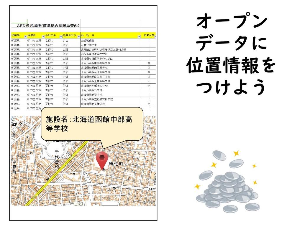 オープン データに 位置情報を つけよう 施設名:北海道函館中部高 等学校