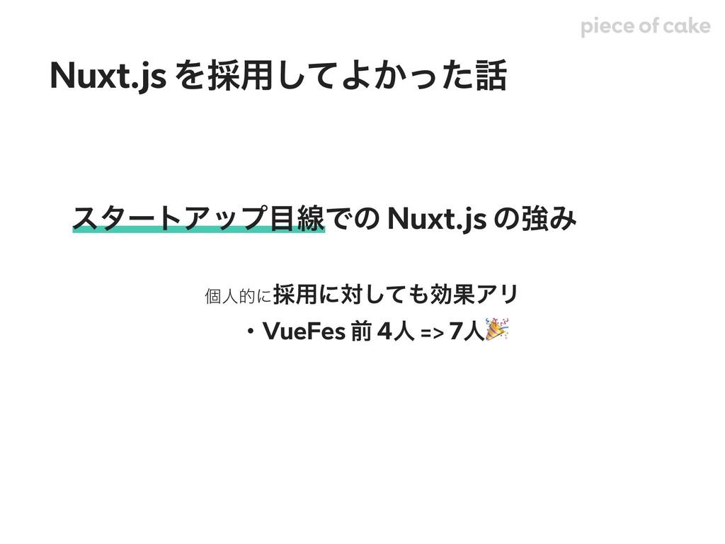 ελʔτΞοϓઢͰͷ Nuxt.js ͷڧΈ ݸਓతʹ࠾༻ʹରͯ͠ޮՌΞϦ ɹɾVueFe...