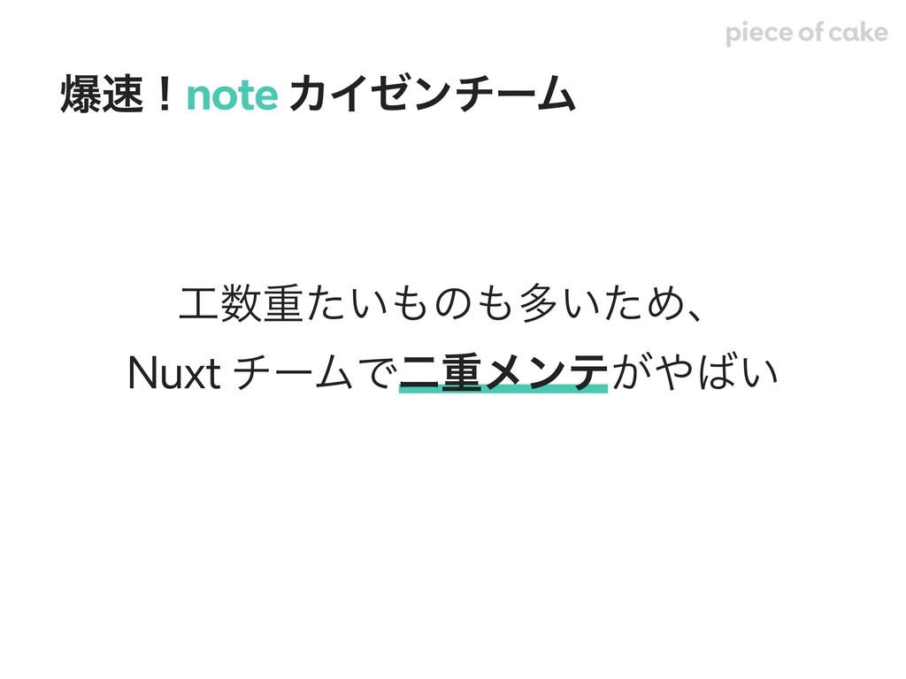 ॏ͍ͨͷଟ͍ͨΊɺ Nuxt νʔϜͰೋॏϝϯς͕͍ രʂnote ΧΠθϯνʔϜ