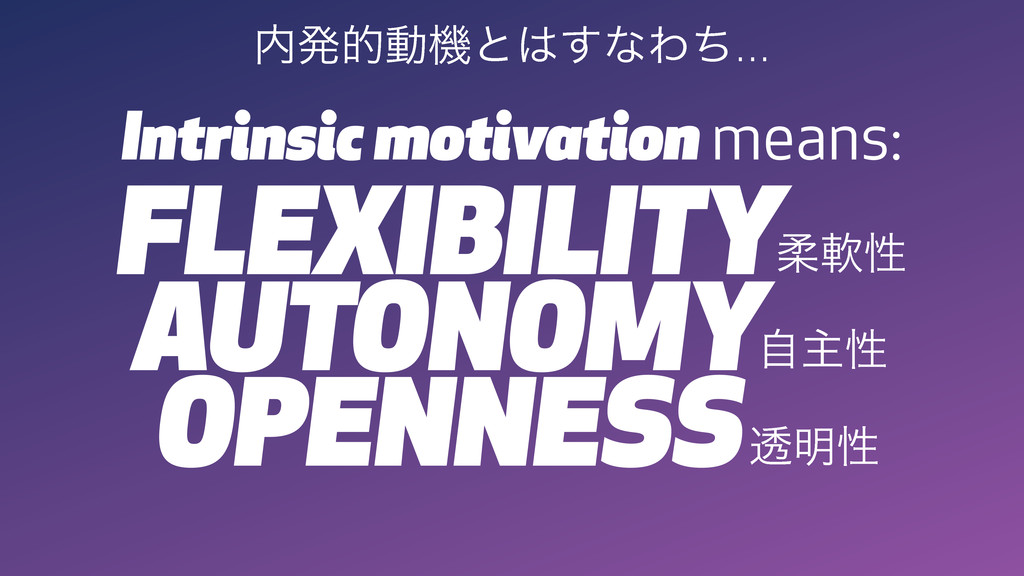Intrinsic motivation means: ಺ൃతಈػͱ͸͢ͳΘͪ... FLEX...