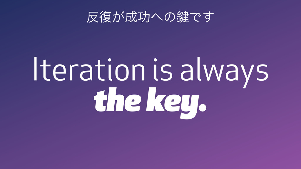 Iteration is always the key. ൓෮͕੒ޭ΁ͷ伴Ͱ͢
