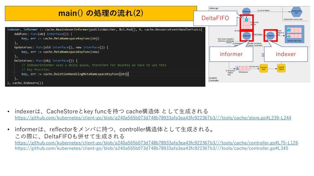 main() の処理の流れ(2) • indexerは、CacheStoreとkey func...