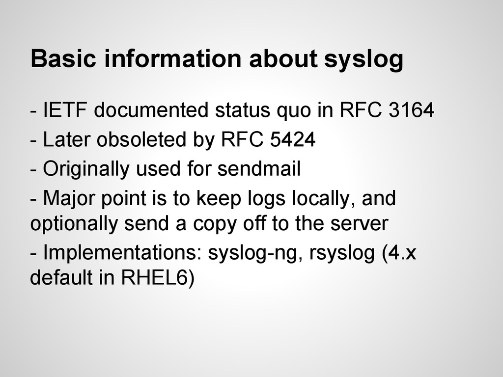 Basic information about syslog - IETF documente...