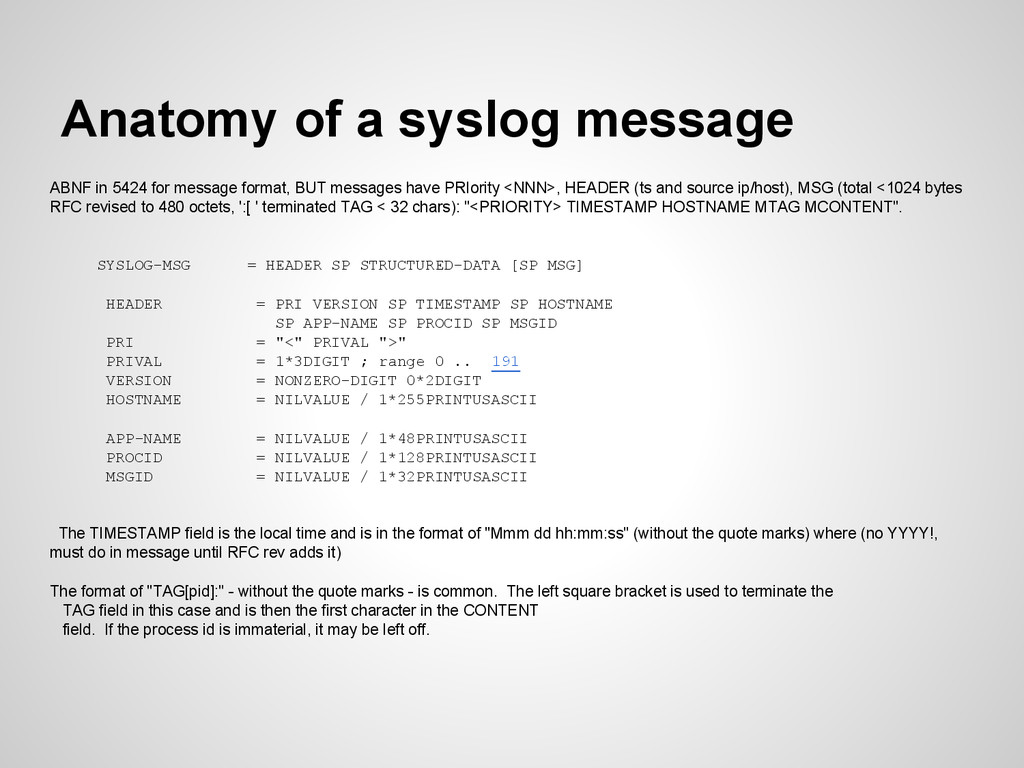 Anatomy of a syslog message ABNF in 5424 for me...