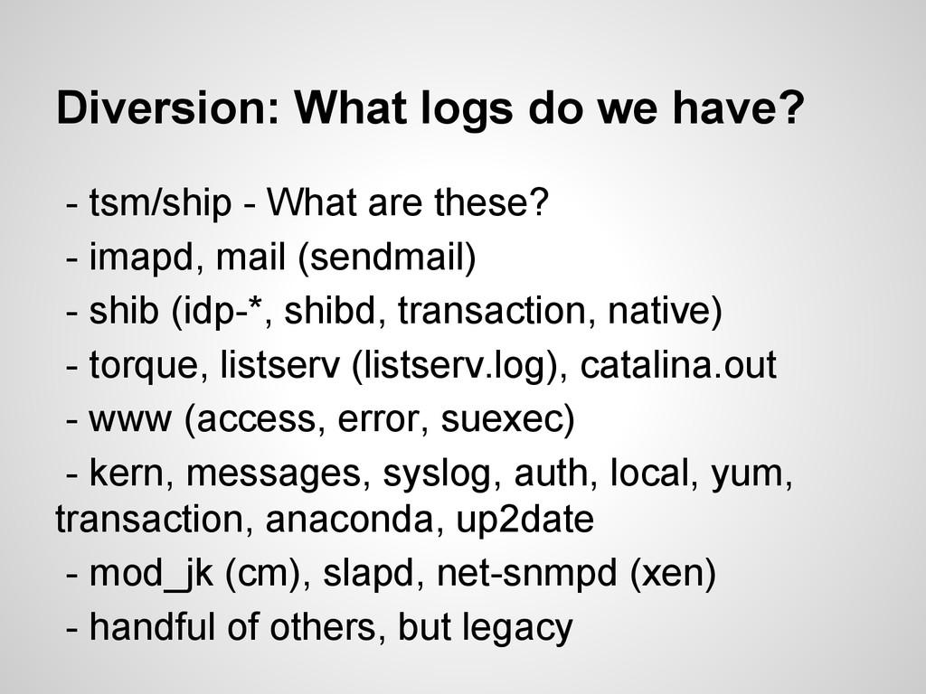 Diversion: What logs do we have? - tsm/ship - W...