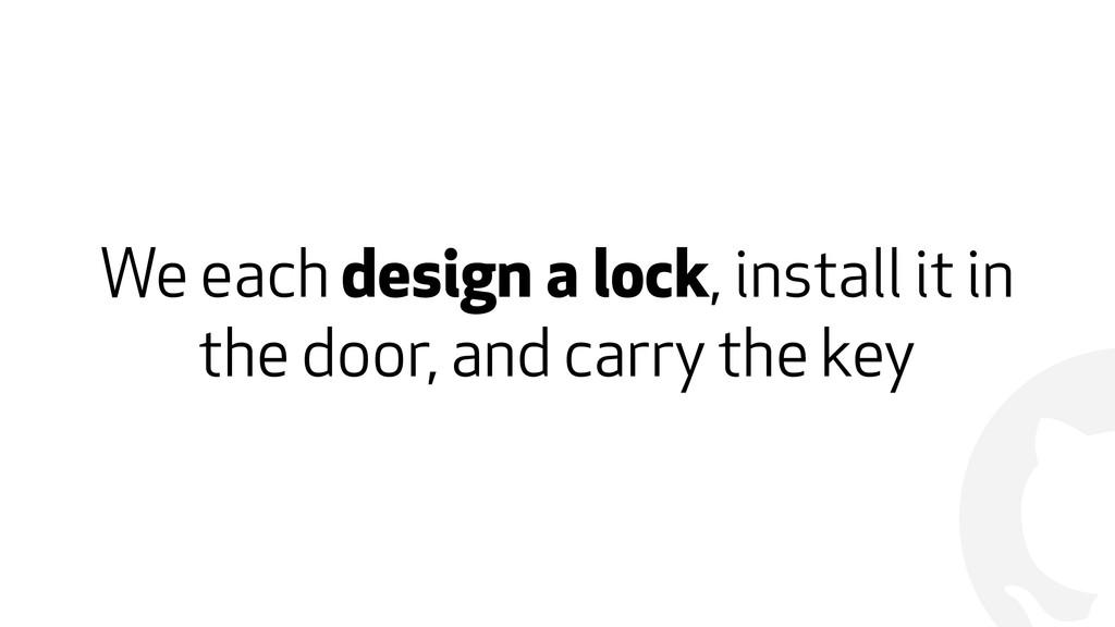! We each design a lock, install it in the door...