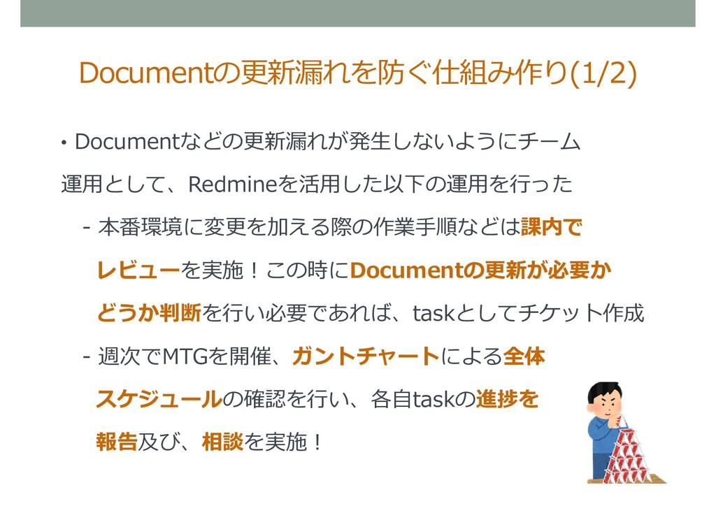 • Documentなどの更新漏れが発生しないようにチーム 運用として、Redmineを活用し...
