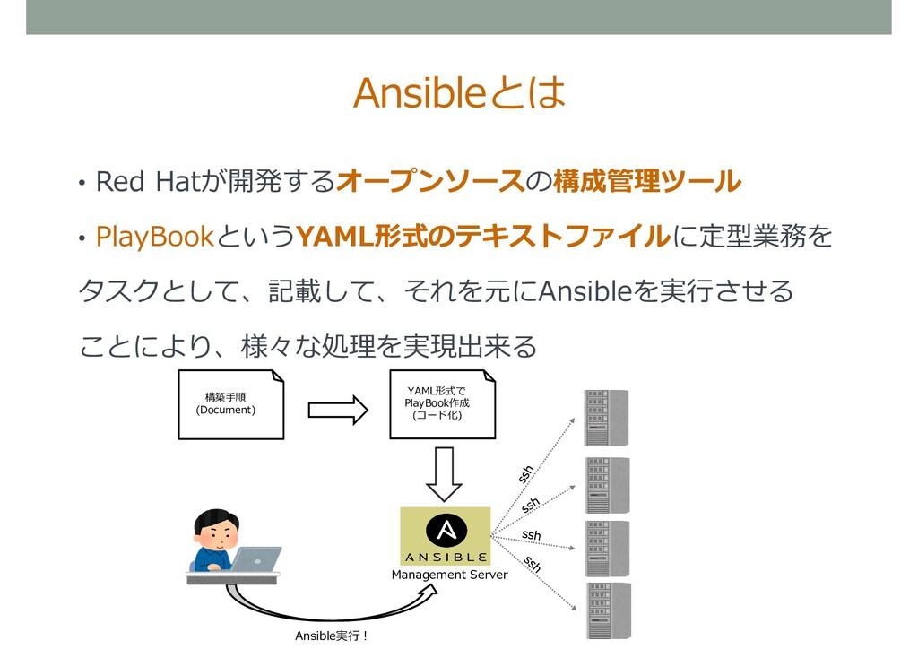 • Red Hatが開発するオープンソースの構成管理ツール • PlayBookというYAML...