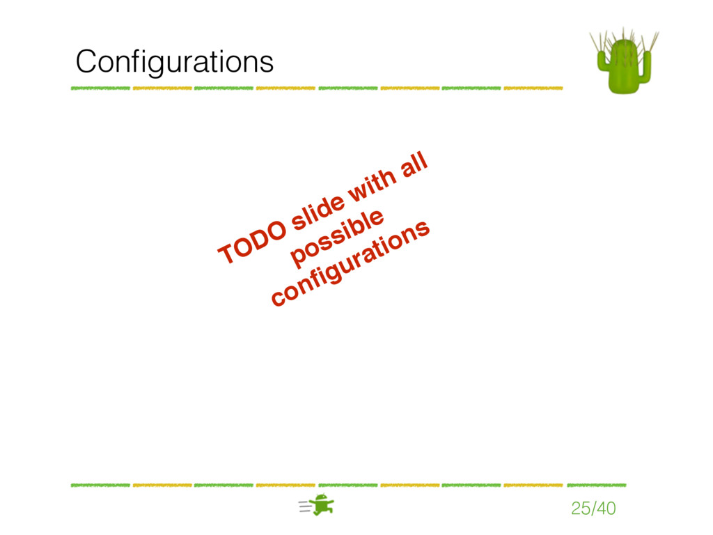 Configurations 25/40 TODO slide with all possibl...