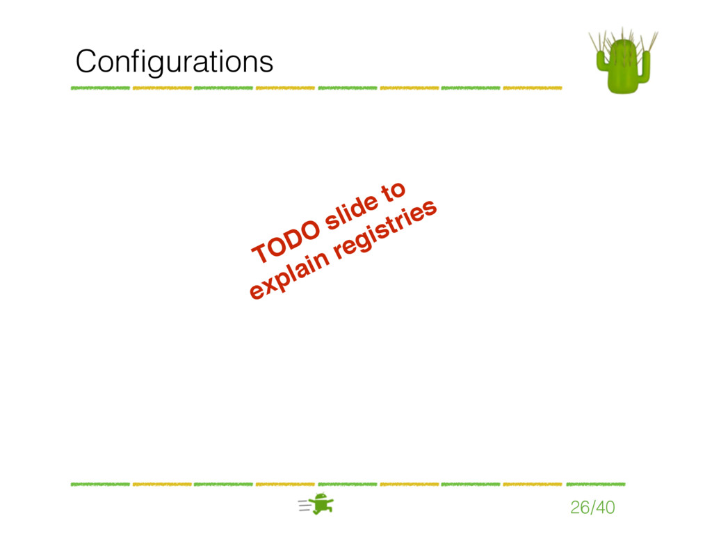 Configurations 26/40 TODO slide to explain regis...