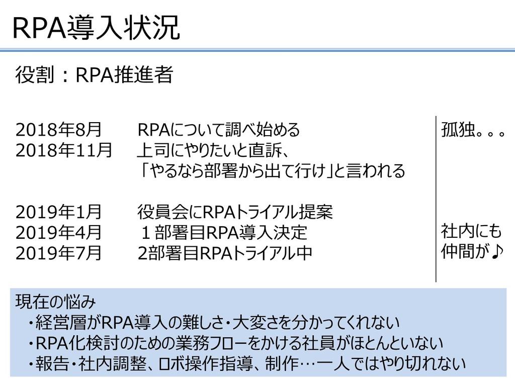 RPA導入状況 2018年8月 RPAについて調べ始める 2018年11月 上司にやりたいと直...