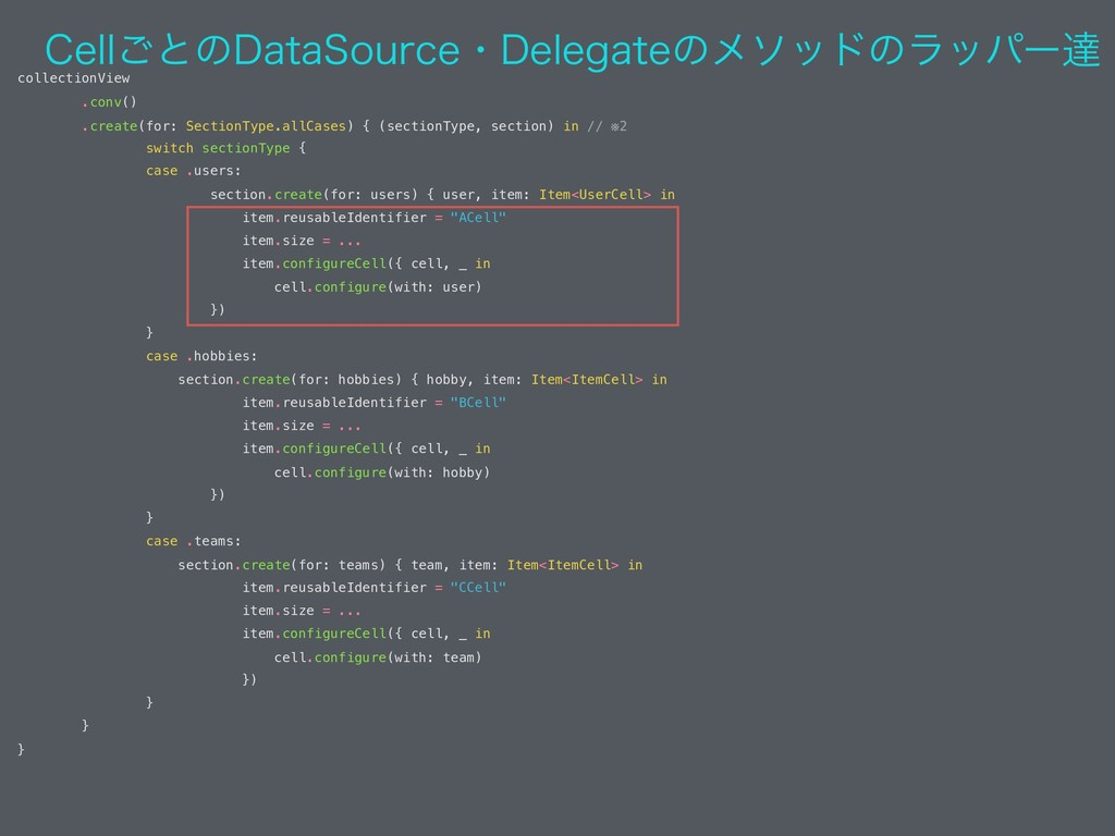 collectionView .conv() .create(for: SectionType...