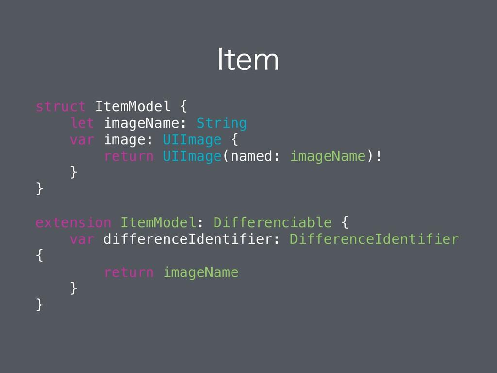 *UFN struct ItemModel { let imageName: String v...
