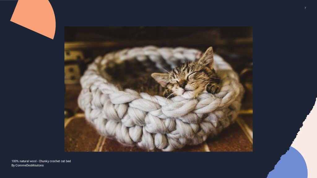 7 100% natural wool - Chunky crochet cat bed By...