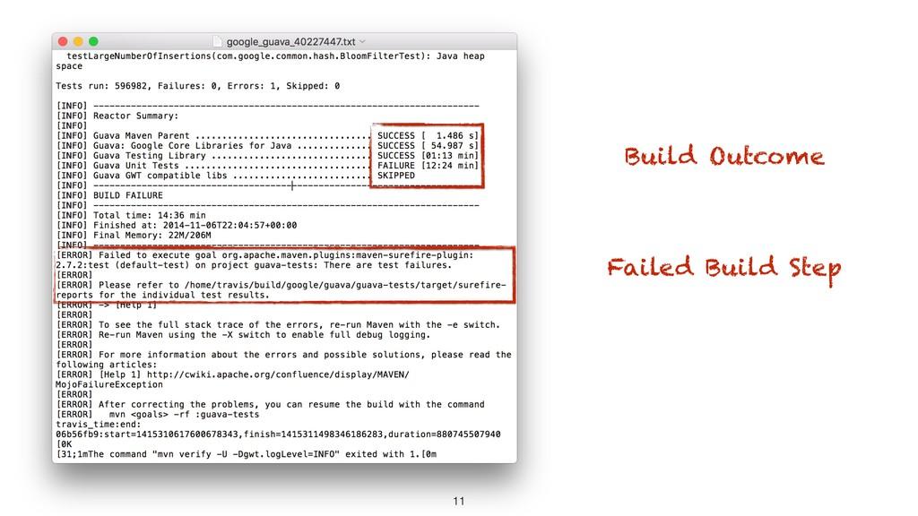 11 Build Outcome Failed Build Step