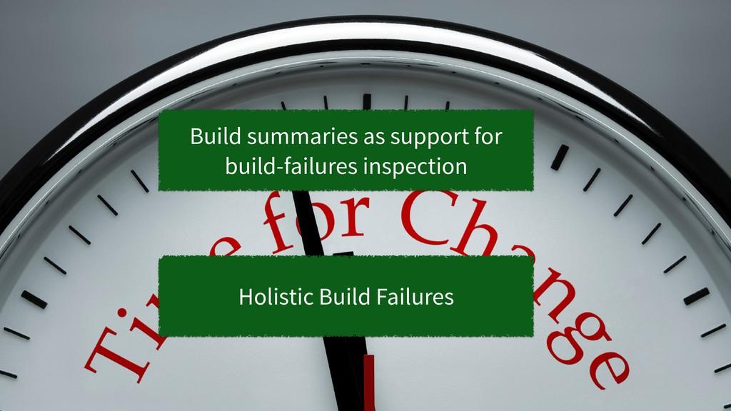35 Holistic Build Failures Build summaries as s...