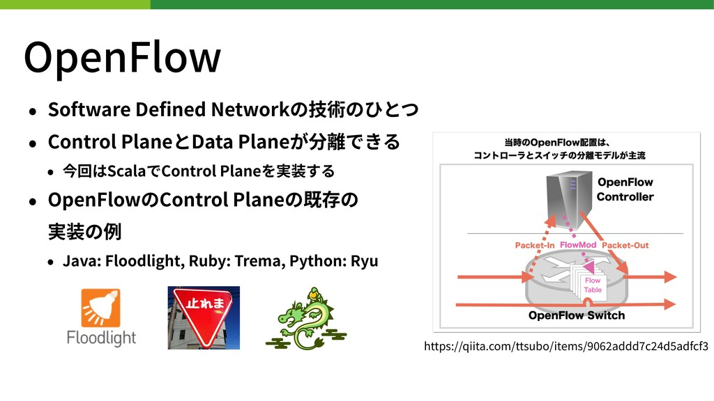 OpenFlow • Software Defined Networkの技術のひとつ • Con...