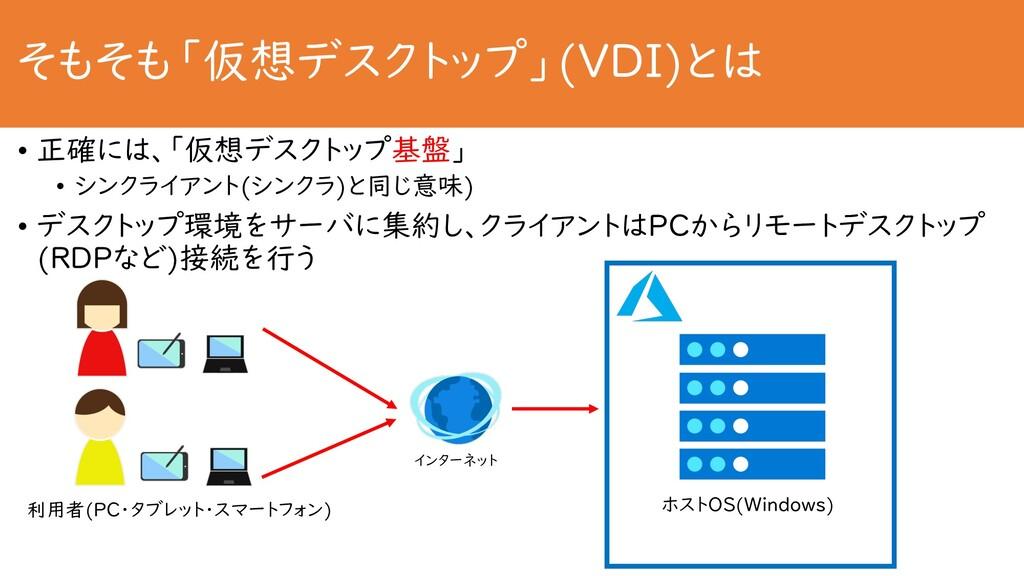 そもそも「仮想デスクトップ」(VDI)とは • 正確には、「仮想デスクトップ基盤」 • シンク...
