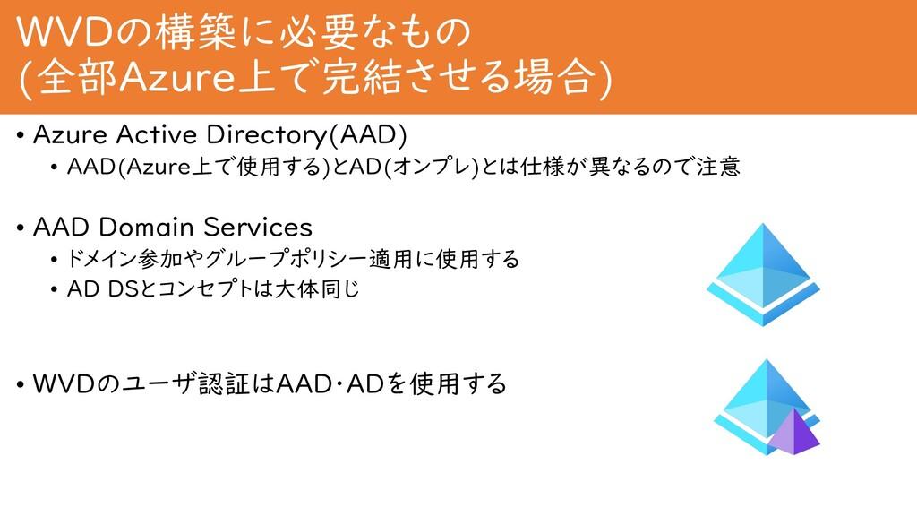 WVDの構築に必要なもの (全部Azure上で完結させる場合) • Azure Active ...