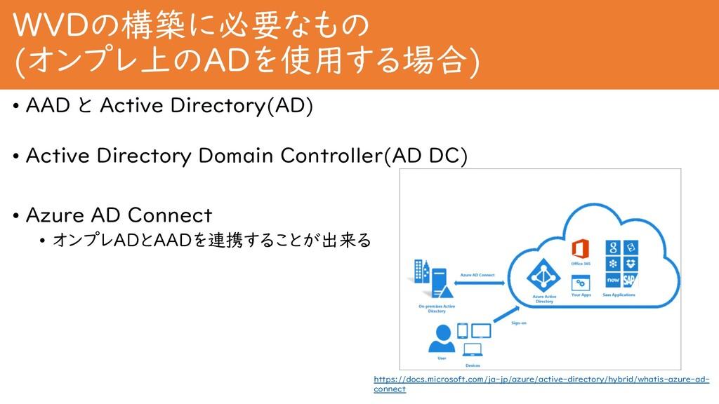 WVDの構築に必要なもの (オンプレ上のADを使用する場合) • AAD と Active D...