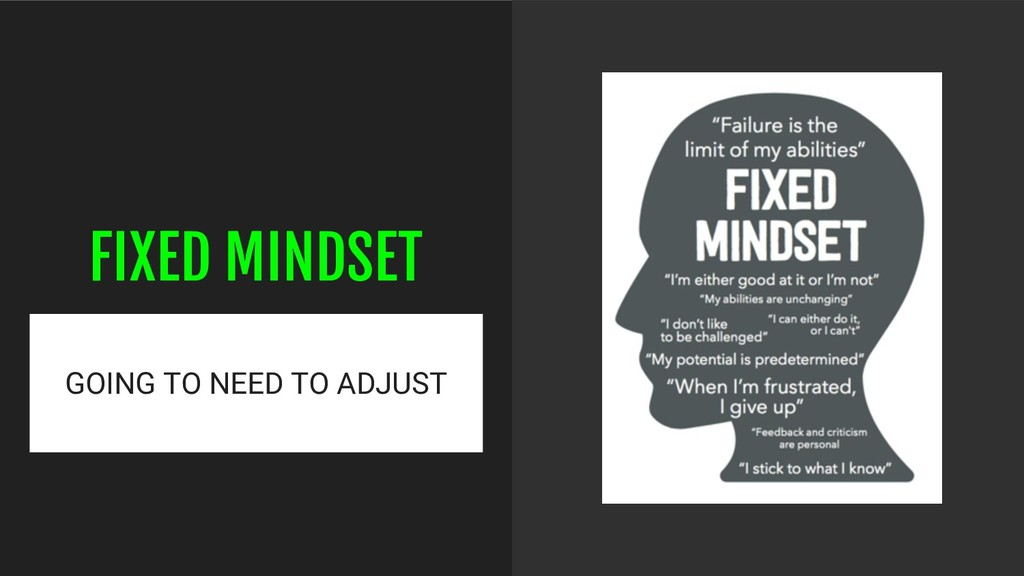 FIXED MINDSET GOING TO NEED TO ADJUST