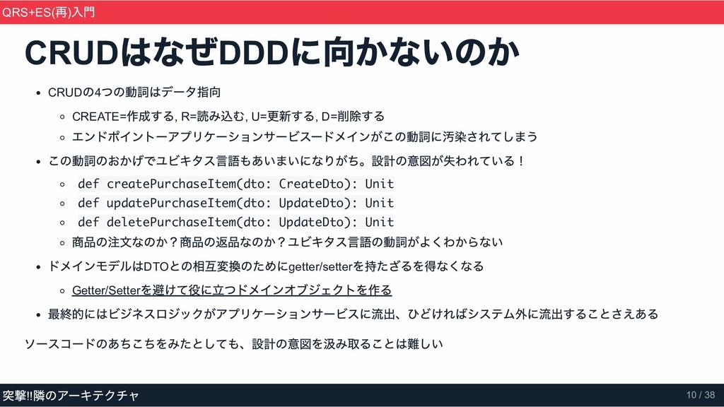 CRUD はなぜ DDD に向かないのか CRUD の4 つの動詞はデータ指向 CREATE=...