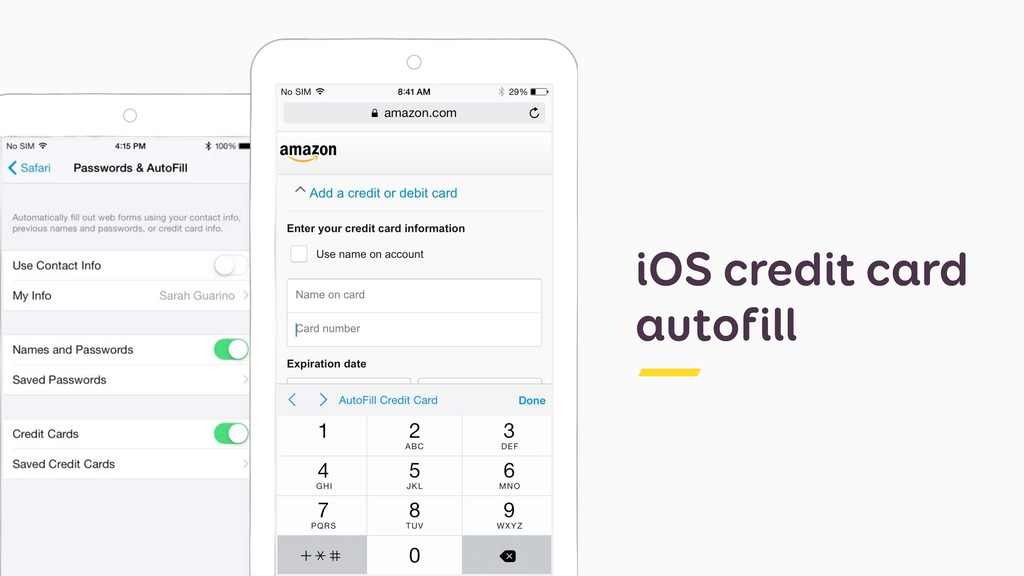 iOS credit card autofill
