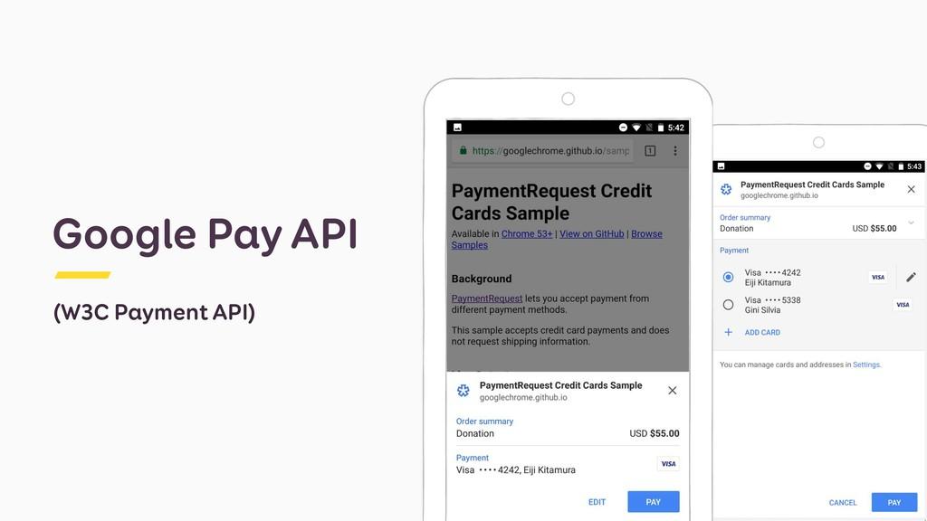 Google Pay API (W3C Payment API)
