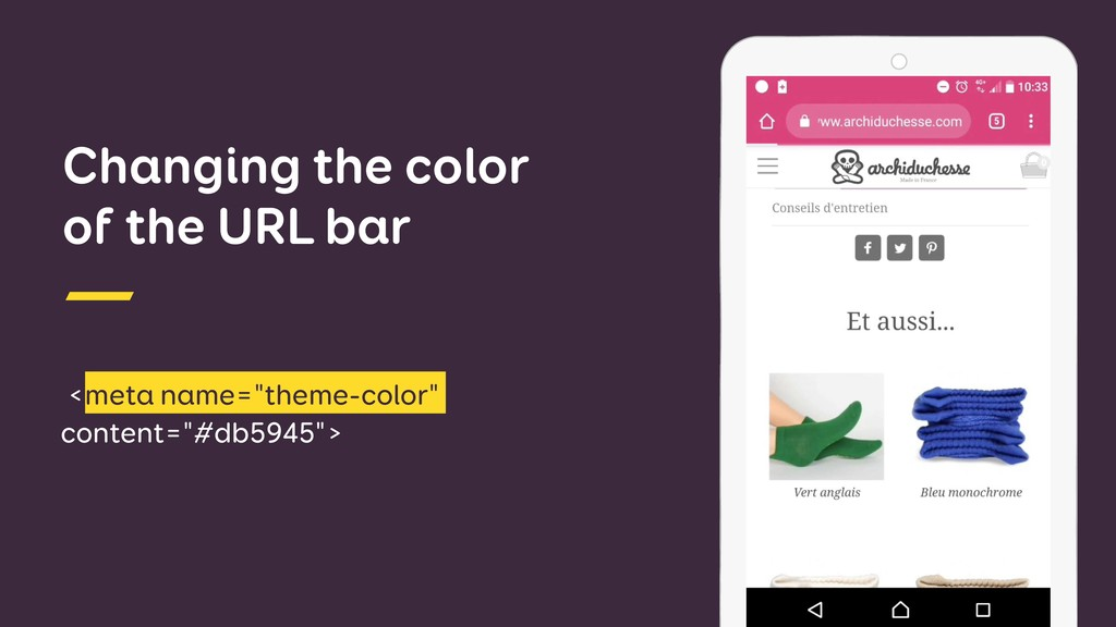 "Changing the color of the URL bar <meta name=""t..."