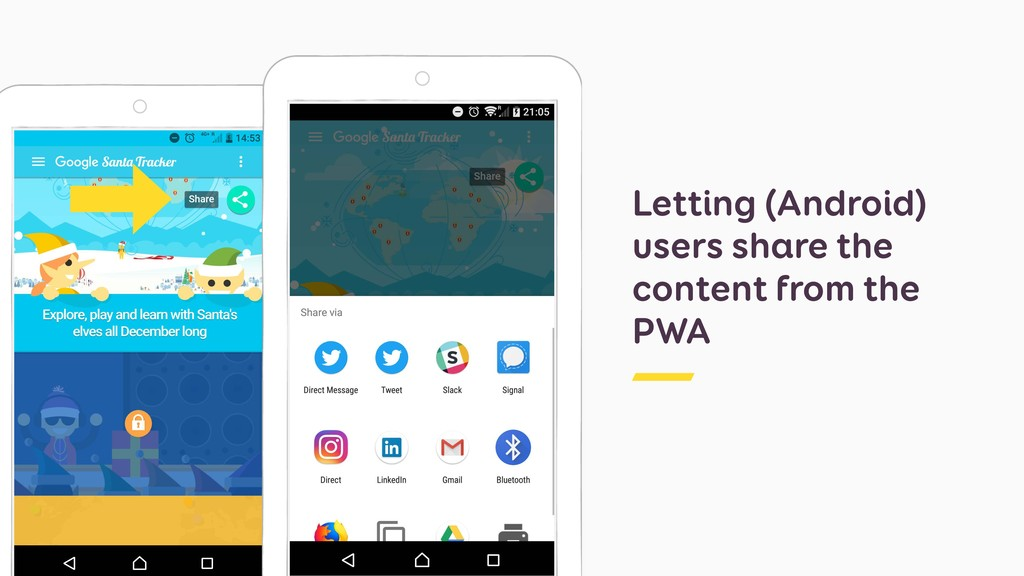 Letting (Android) users share the content from ...