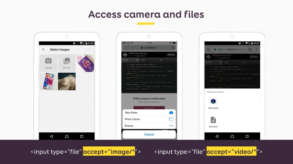 "Access camera and files <input type=""file"" acce..."
