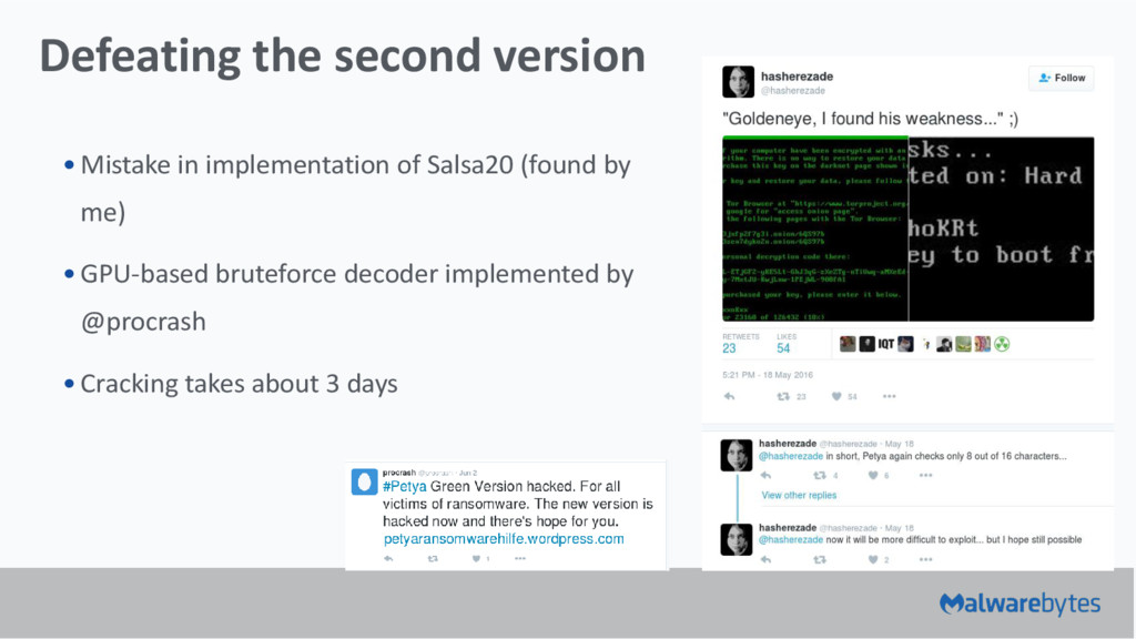 Defeating the second version •Mistake in implem...