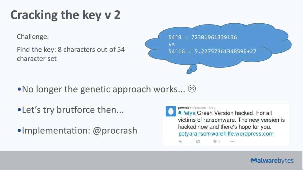 Cracking the key v 2 •No longer the genetic app...