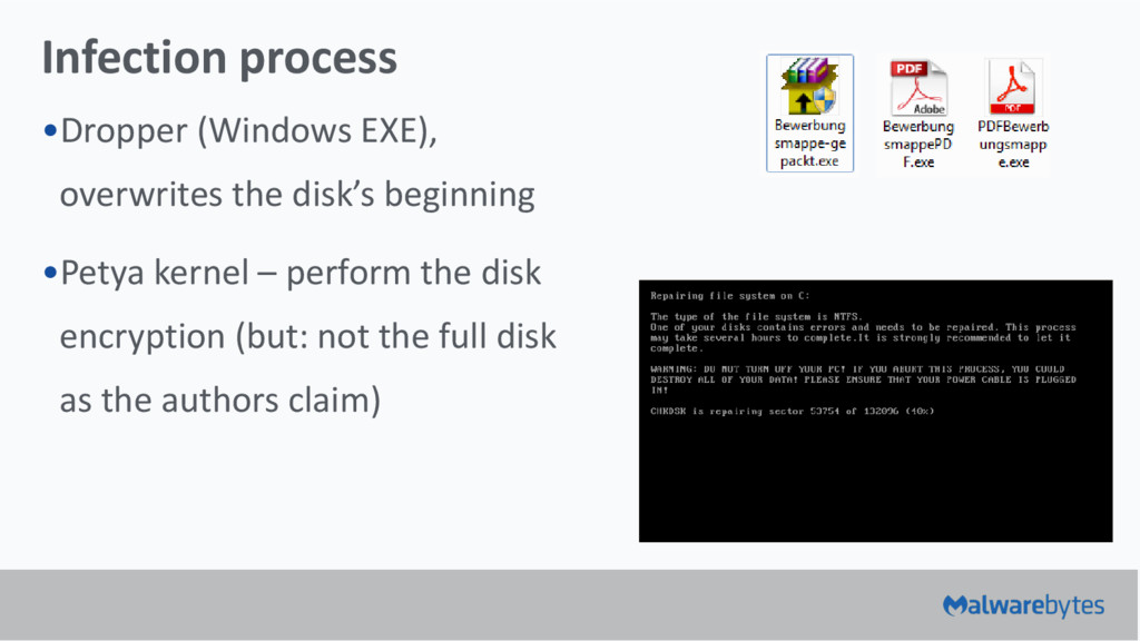 Infection process •Dropper (Windows EXE), overw...