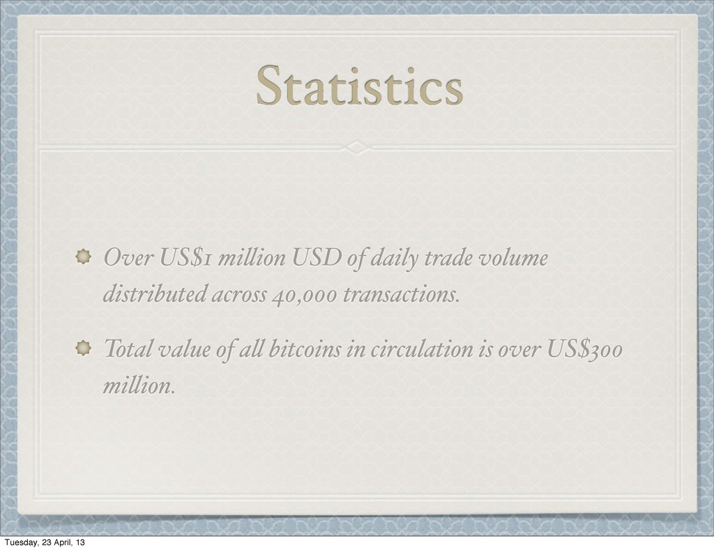 "Statistics Over US$1 mi""ion USD of daily trade ..."