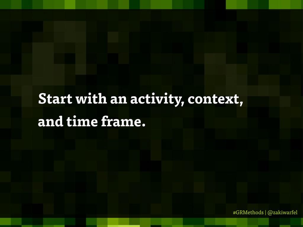 #GRMethods | @zakiwarfel Start with an activity...