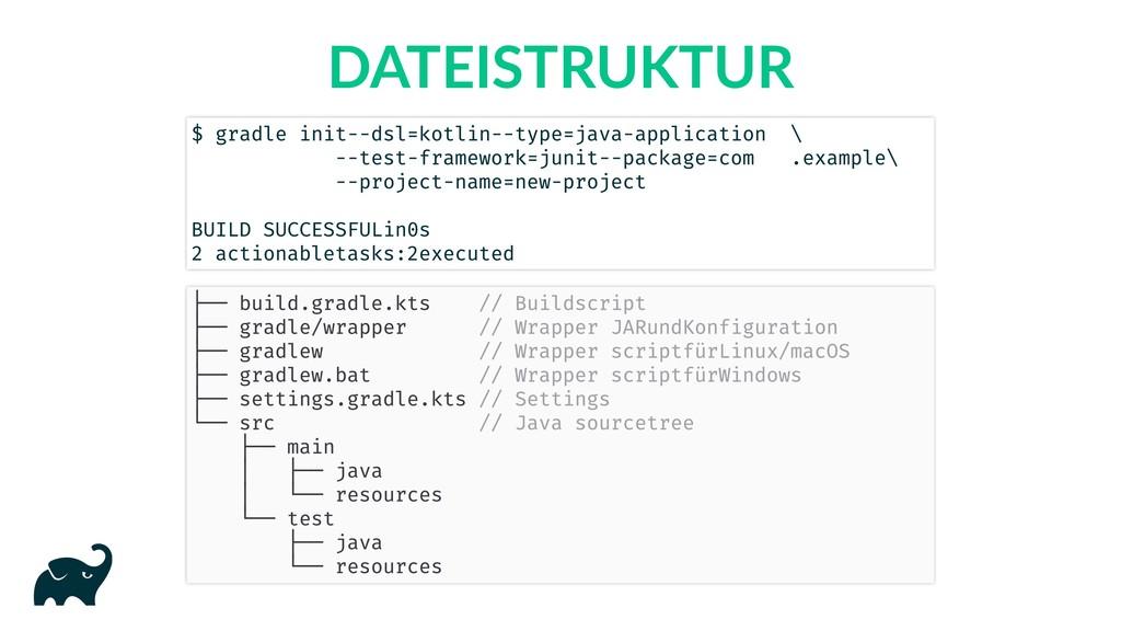 DATEISTRUKTUR $ gradle init --dsl=kotlin --type...