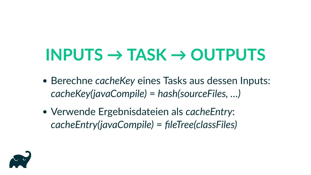 INPUTS → TASK → OUTPUTS Berechne cacheKey eines...