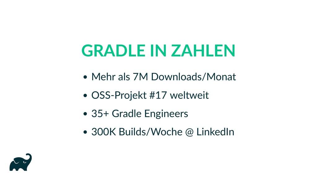 GRADLE IN ZAHLEN Mehr als 7M Downloads/Monat OS...